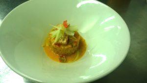Couscous-alle-verdure tofu-arrosto-ed-essenza-vegetale-impiattamento-per-aperitivo