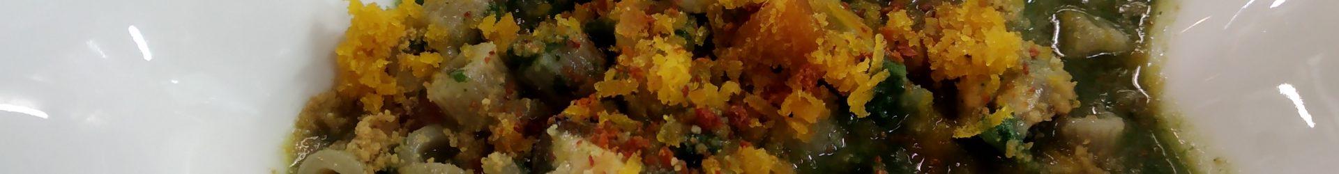 Cubetti di Farro con tenerumi,cozze e bottarga sarda
